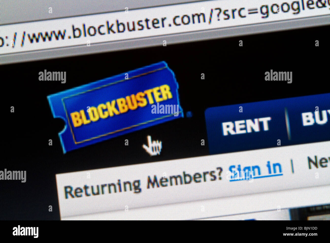 The online website for the Blockbuster video store. Blockbuster.com. - Stock Image