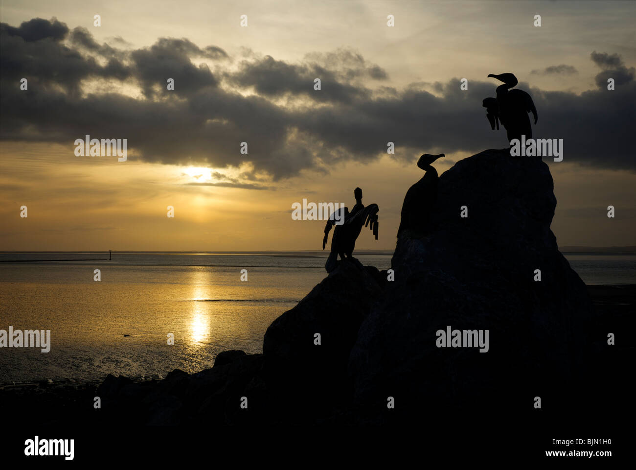 Sunset at Morecambe, and artwork of cormorants, Lancashire, England UK - Stock Image