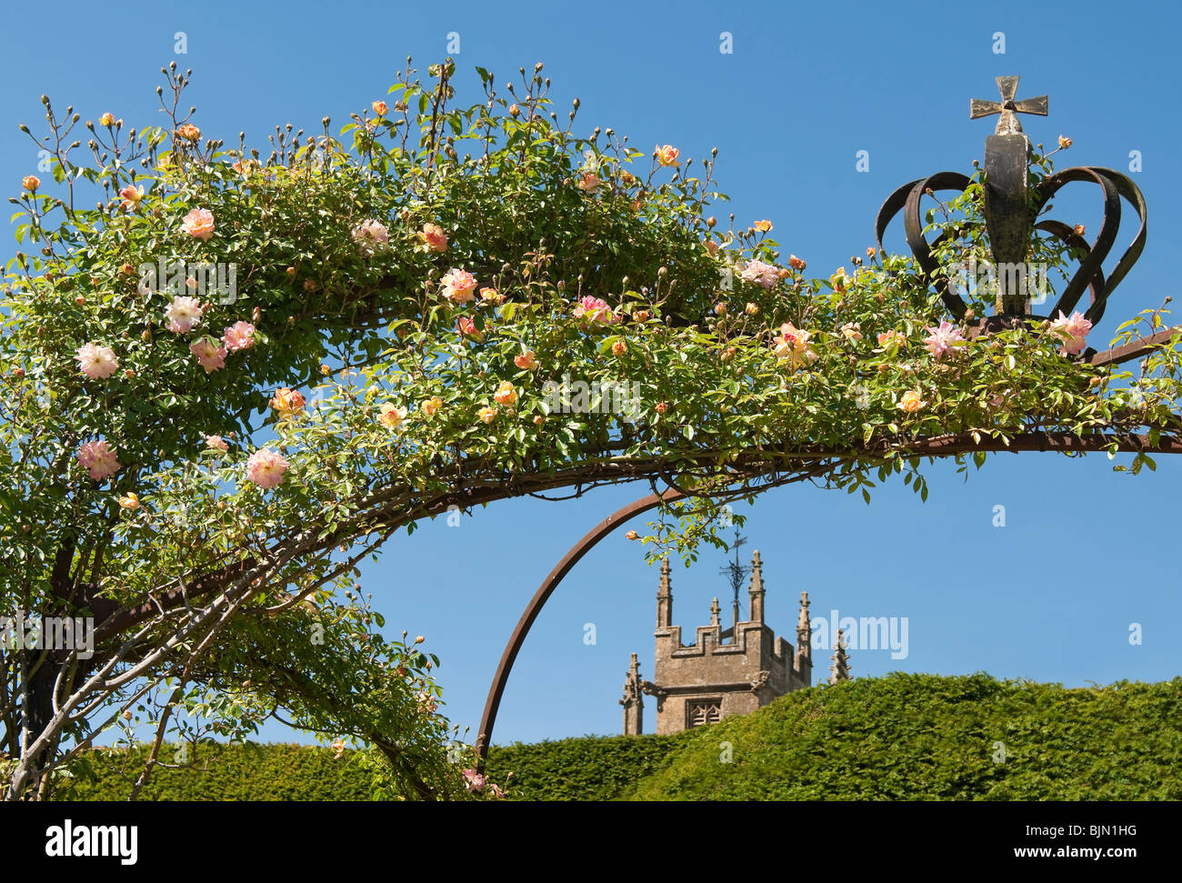 Crown Gate at the Queens Garden at Sudeley Castle, a castle located near Winchcombe, Gloucestershire, England. - Stock Image