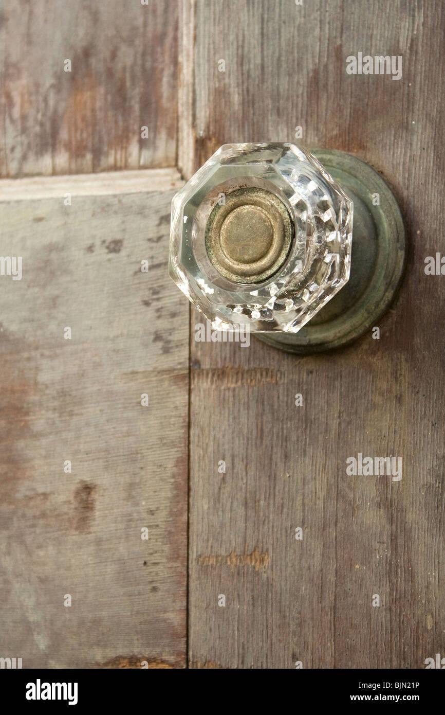 Antique door and doorknob - Stock Image