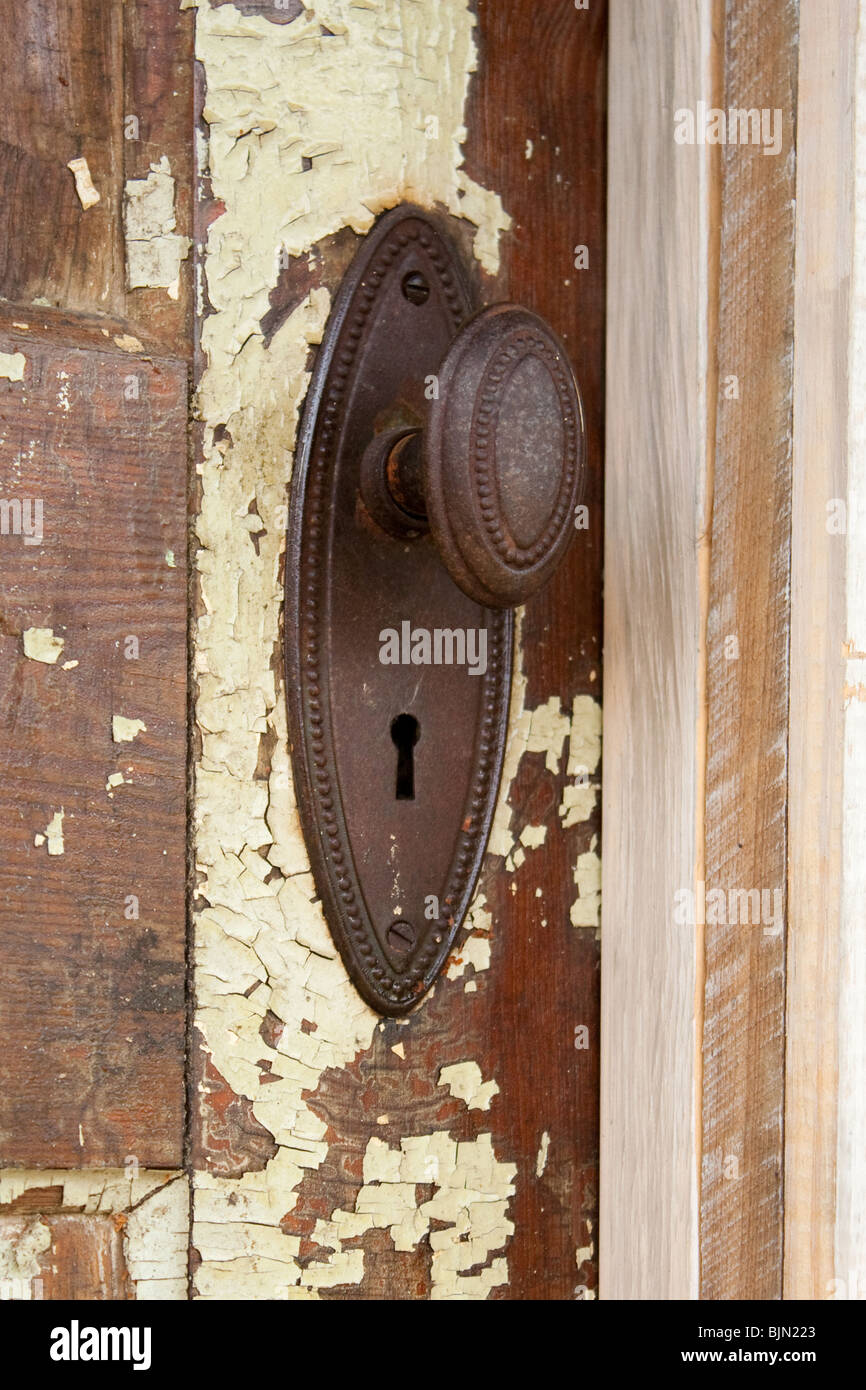 Antique door and knob - Stock Image