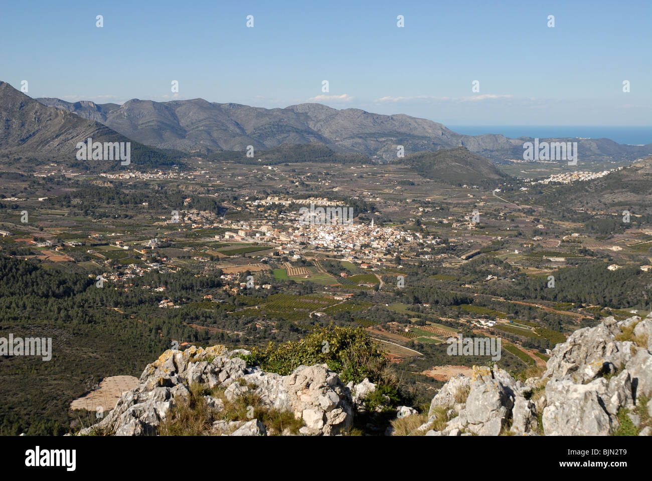 view over the Jalon Valley towards the coast, Alicante Province, Comunidad Valenciana, Spain - Stock Image