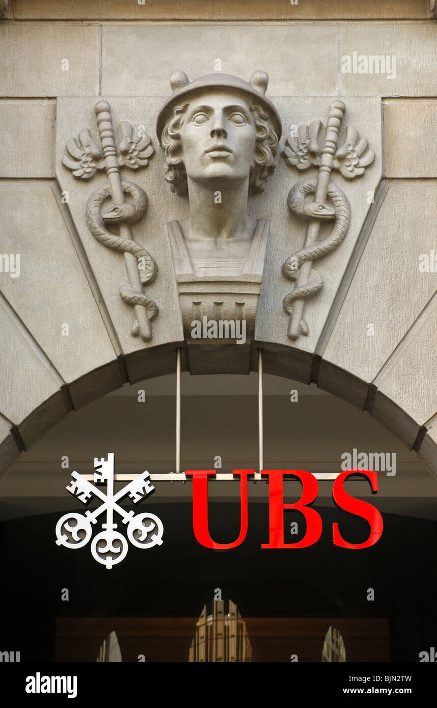 Sculpture of the god Mercury over the entrance to the Muenzhof, headquarters of the UBS Bank, Zurich, Switzerland Stock Photo
