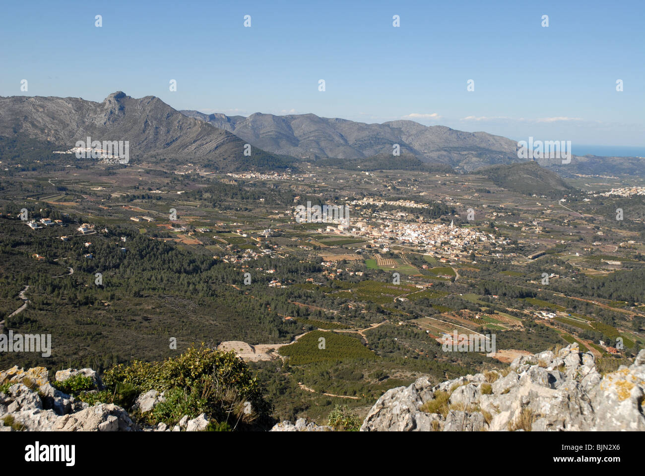 view over the Jalon Valley, Alicante Province, Comunidad Valenciana, Spain - Stock Image
