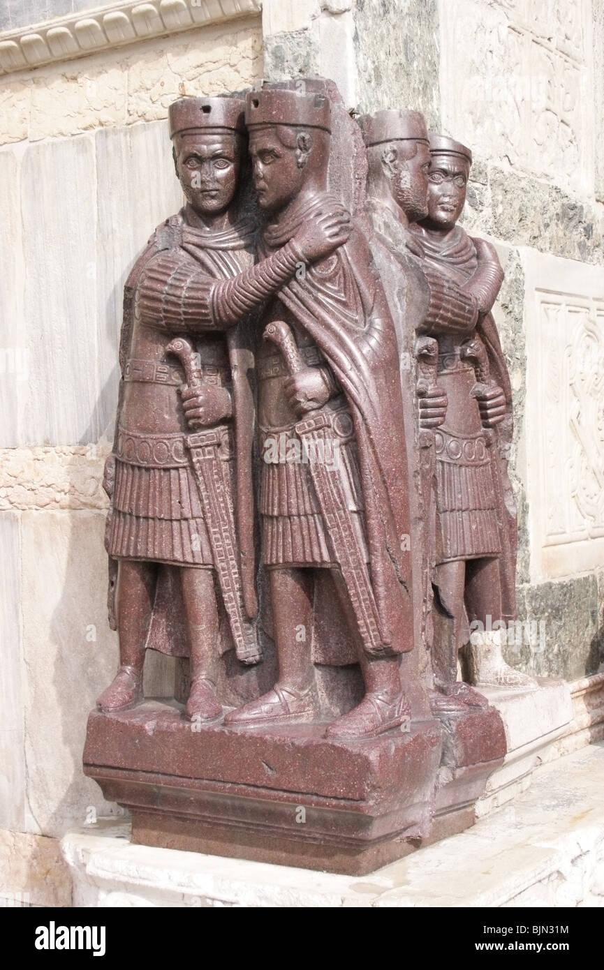 Venice- porphyry statue of the Four Tetrarchs, San Marco Stock Photo ...