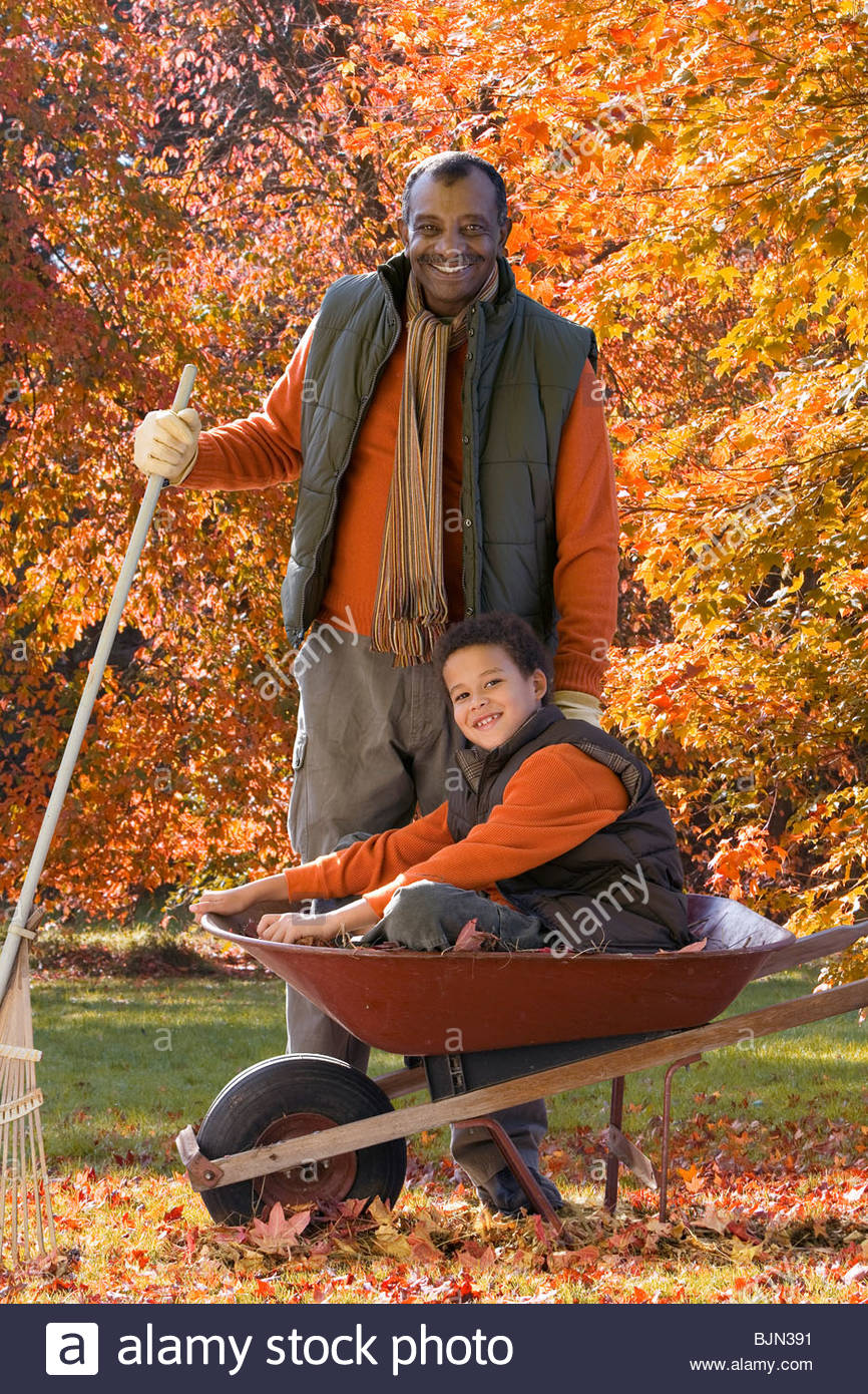 African man and grandson doing yard work in autumn - Stock Image