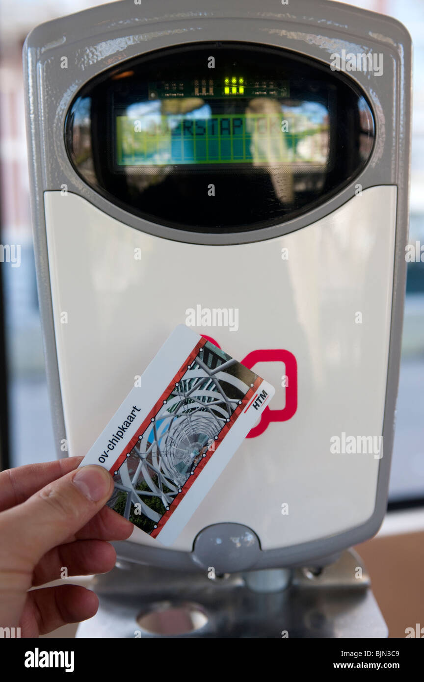 New contact less electronic Chipkaart ticket and ticket machine on public tram in The Hague, The Netherlands - Stock Image
