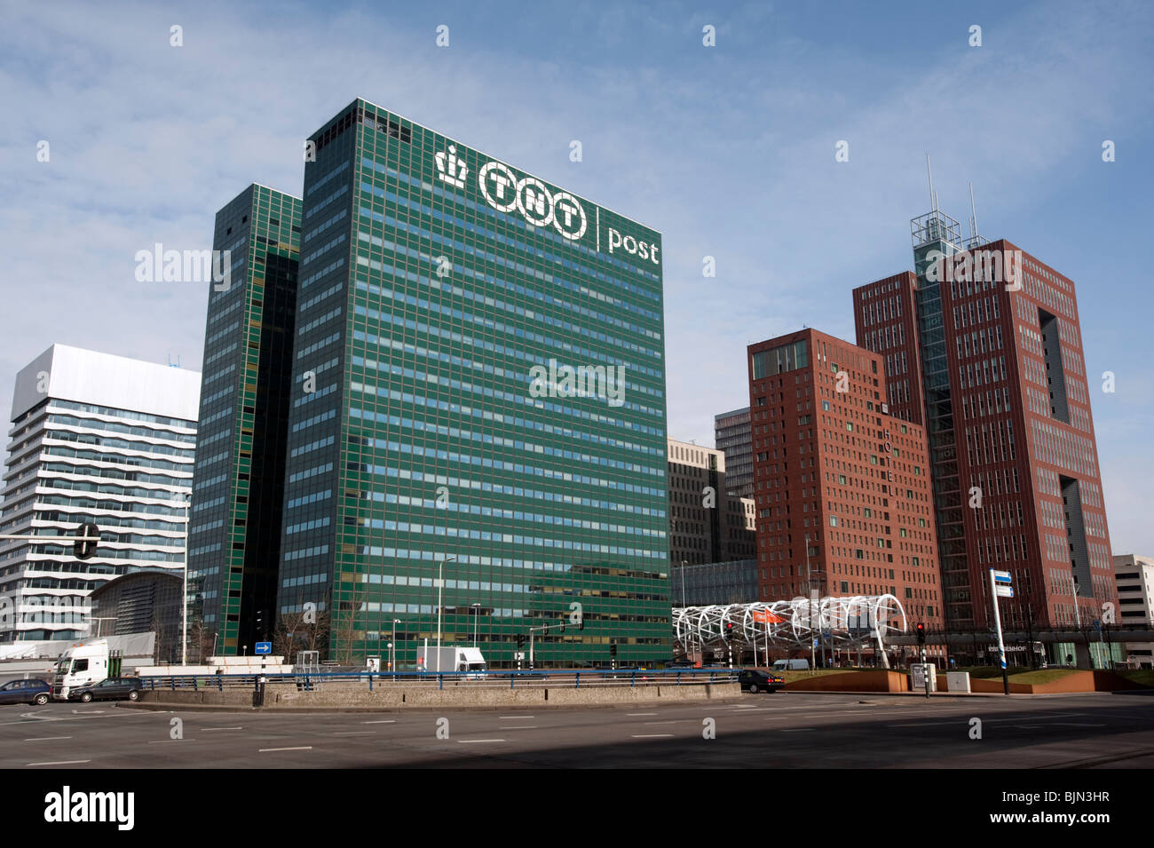 TNT postal company headquarters office tower in Central Business District in The Hague Netherlands - Stock Image