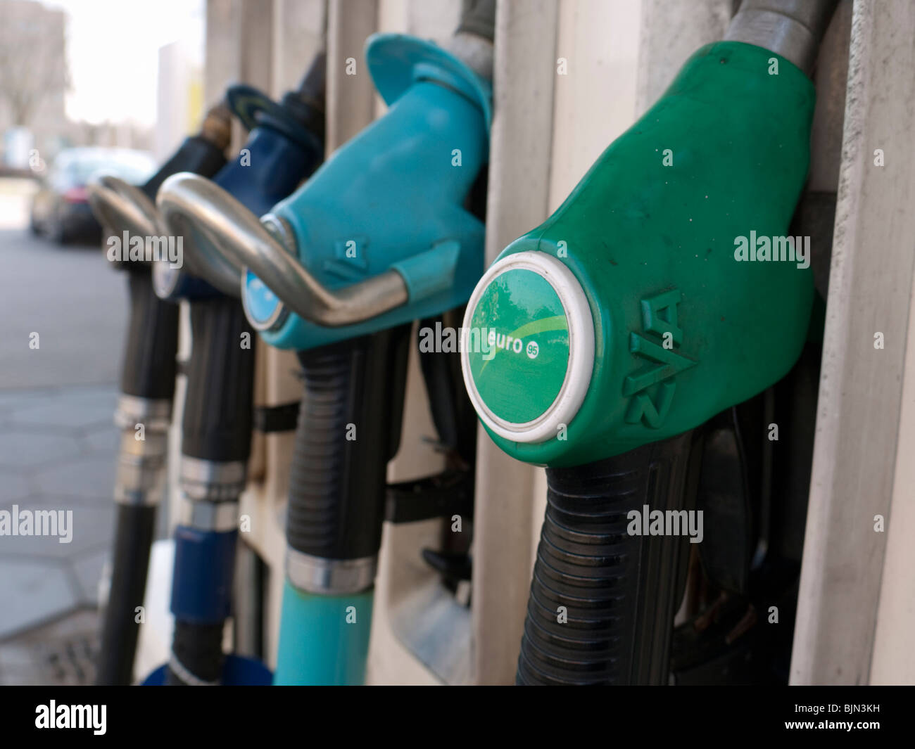 Detail of petrol pumps at BP filling station in the Netherlands - Stock Image