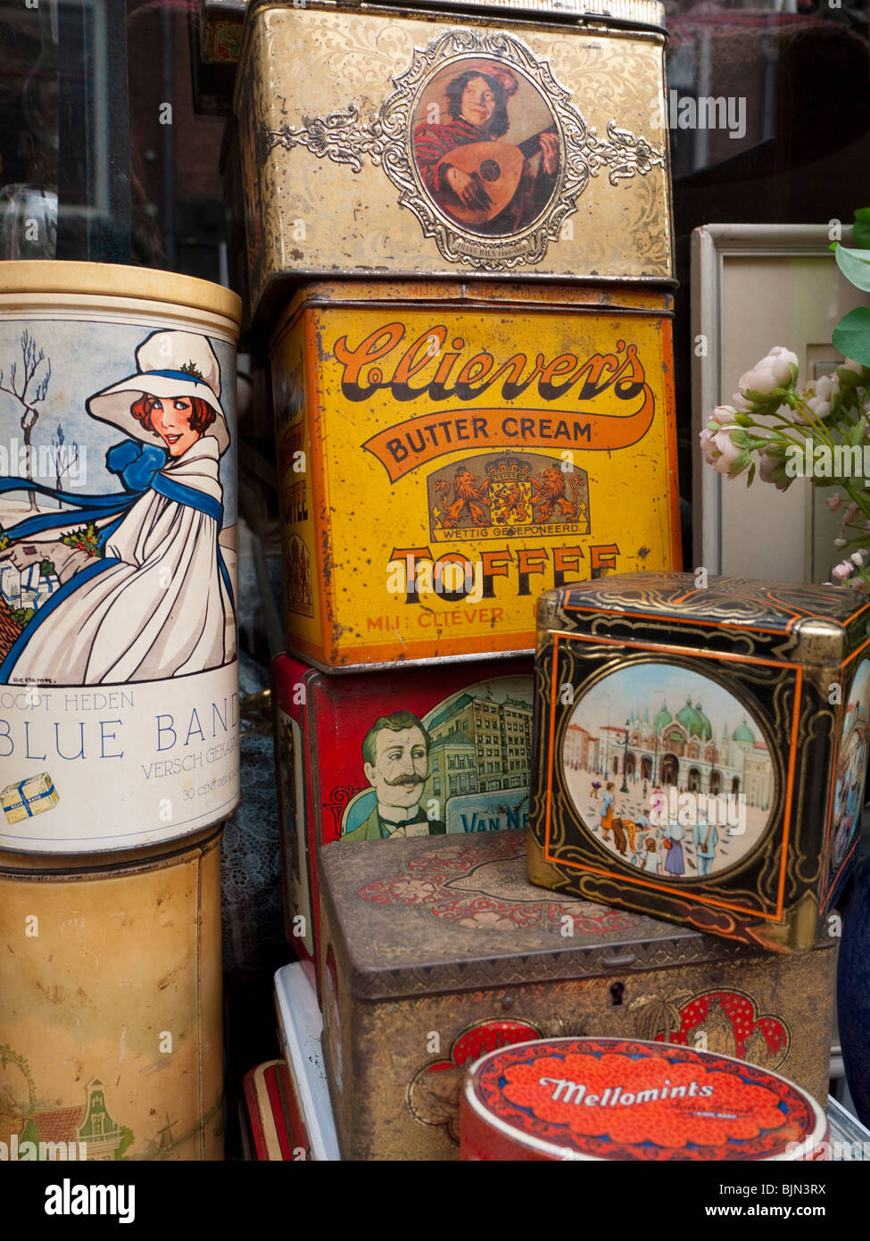 Detail of antiques outside shop in central Utrecht The Netherlands - Stock Image