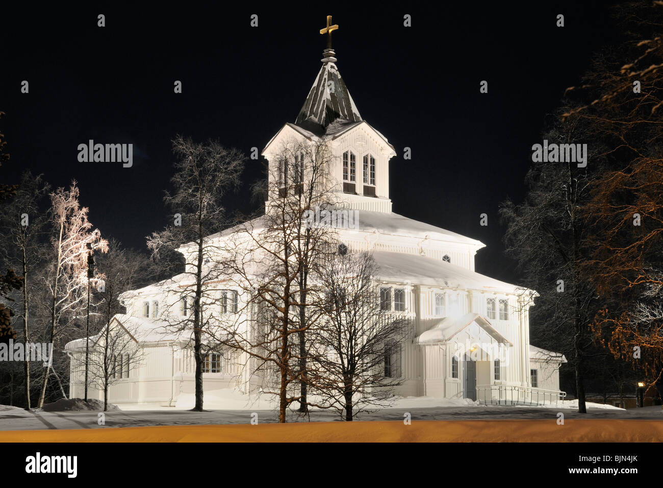 The old Church in Gallivare at night - Stock Image
