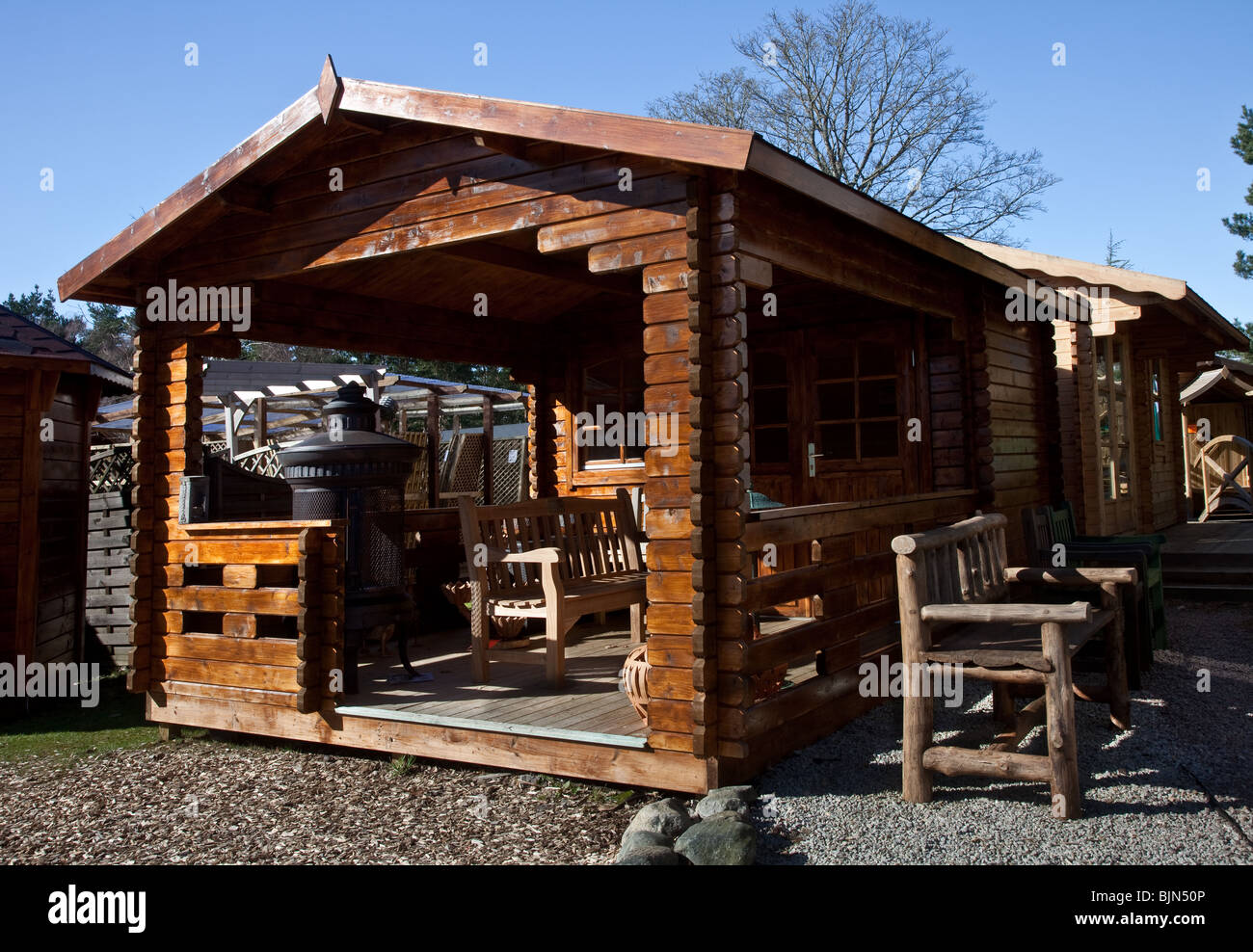 Garden Shed, Outbuilding, chalet, garden, house, architecture, summer, home, wood, nature, building, cottage, Summerhouse - Stock Image