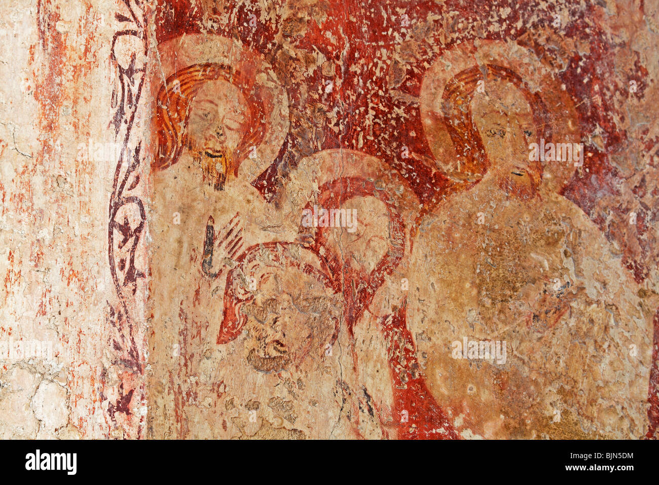 Medieval Wall Paintings depicting saints or apostles, All Saints Church, Crostwight, Norfolk - Stock Image