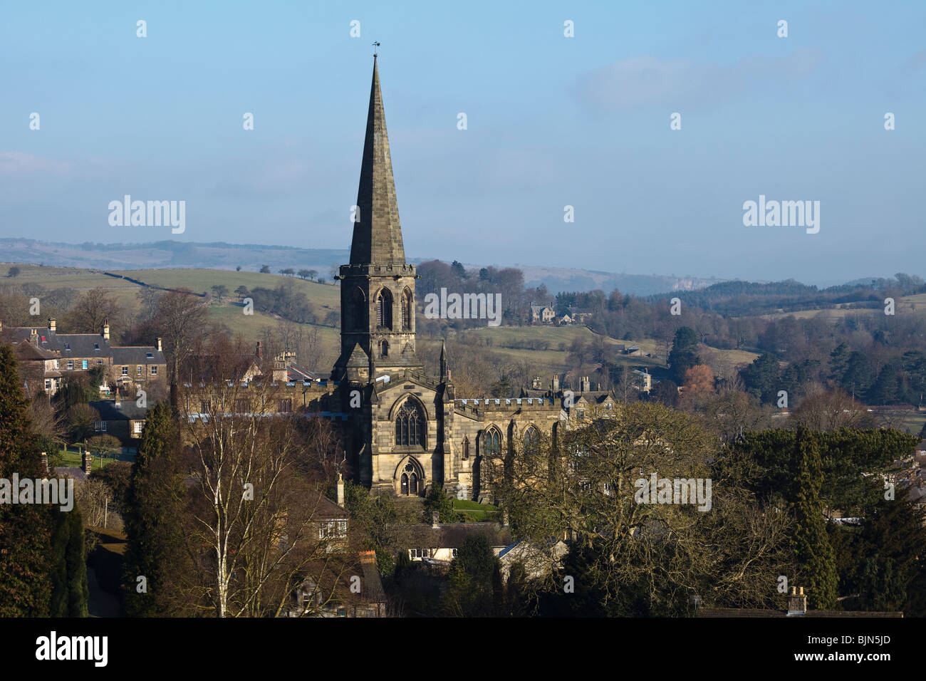 View of Bakewell and the Parish Church of All Saints, Derbyshire. - Stock Image