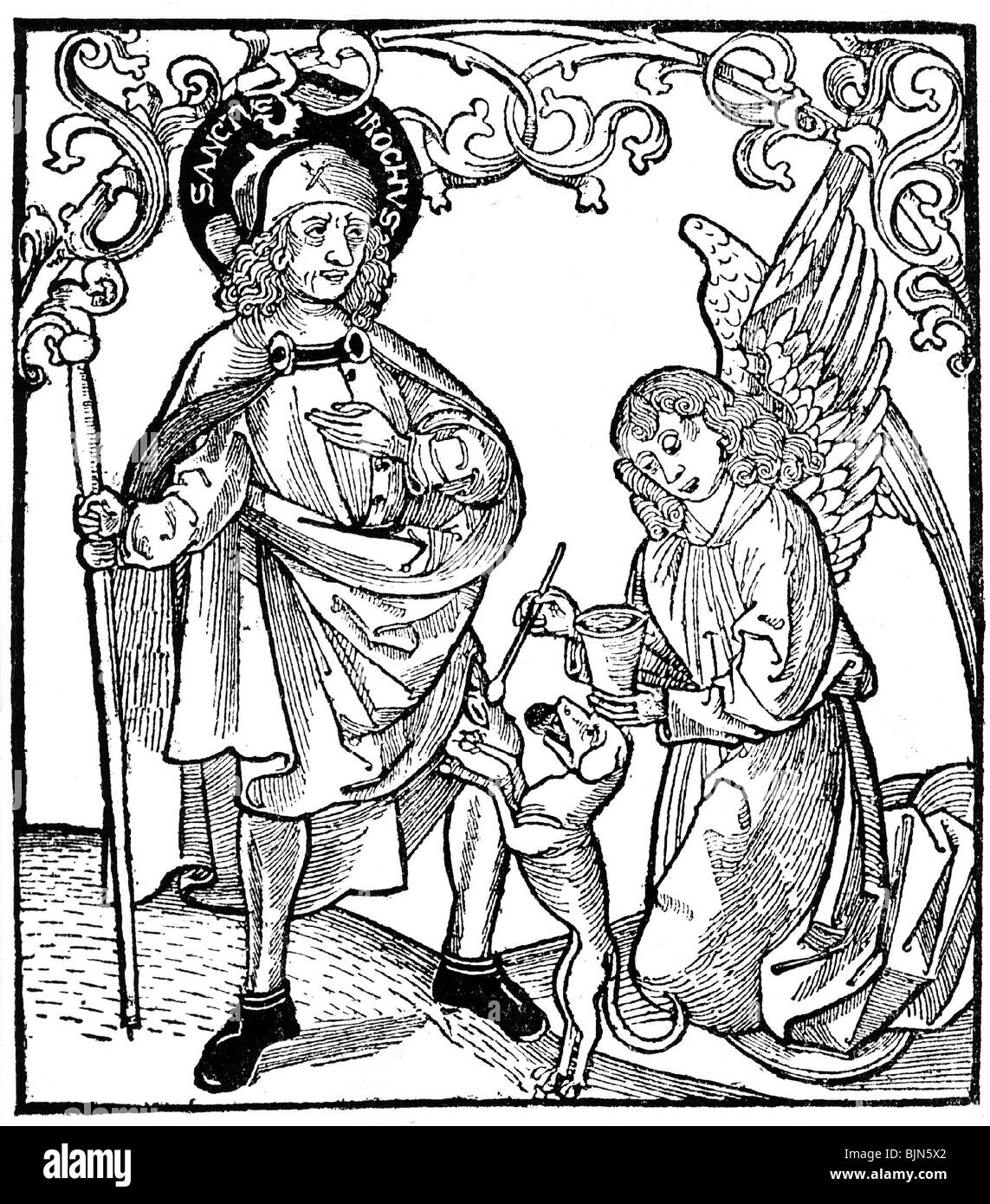 medicine, epidemics, plague, Saint Roch of Montpellier is nursed by an angel while a dog is offering him bread, - Stock Image