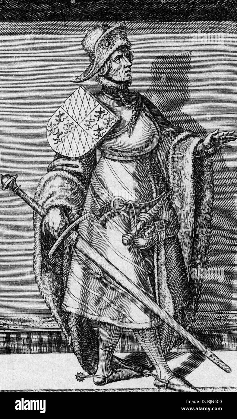 William I, 12.5.1330 - 15.4.1389, Duke of Bavaria-Straubing-Holland 3.6.1353 - 15.4.1389, full length, copper engraving, - Stock Image