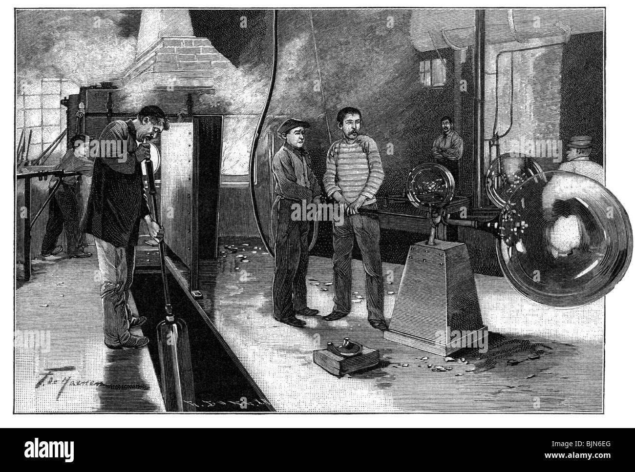 industry, glass factory, wood engraving, Germany, late 19th century, glassworks, kiln, production, glassblower, - Stock Image