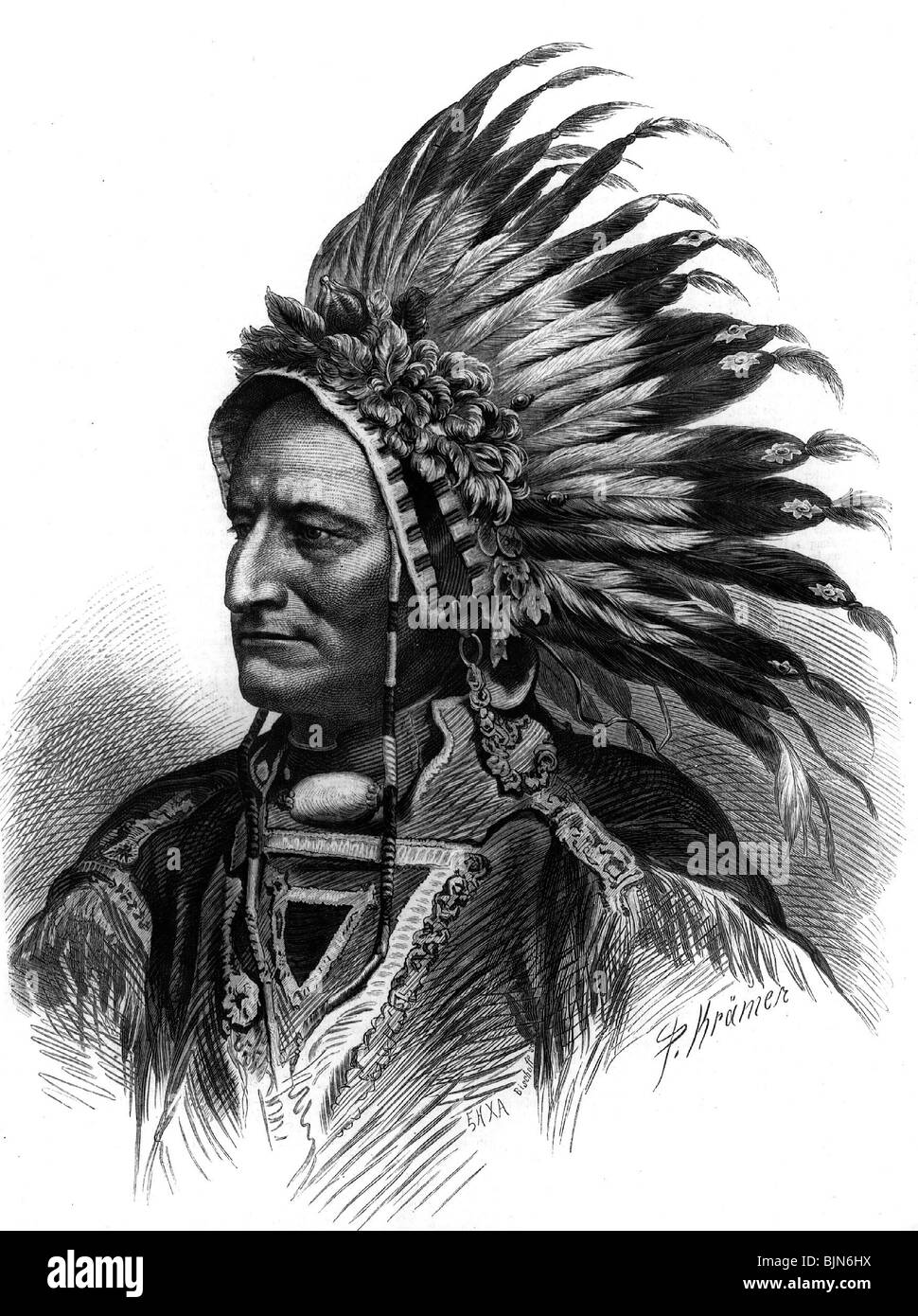 geography / travel, United States of America, American Indians, chieftain, Pawnee Indian, Additional-Rights-Clearances - Stock Image