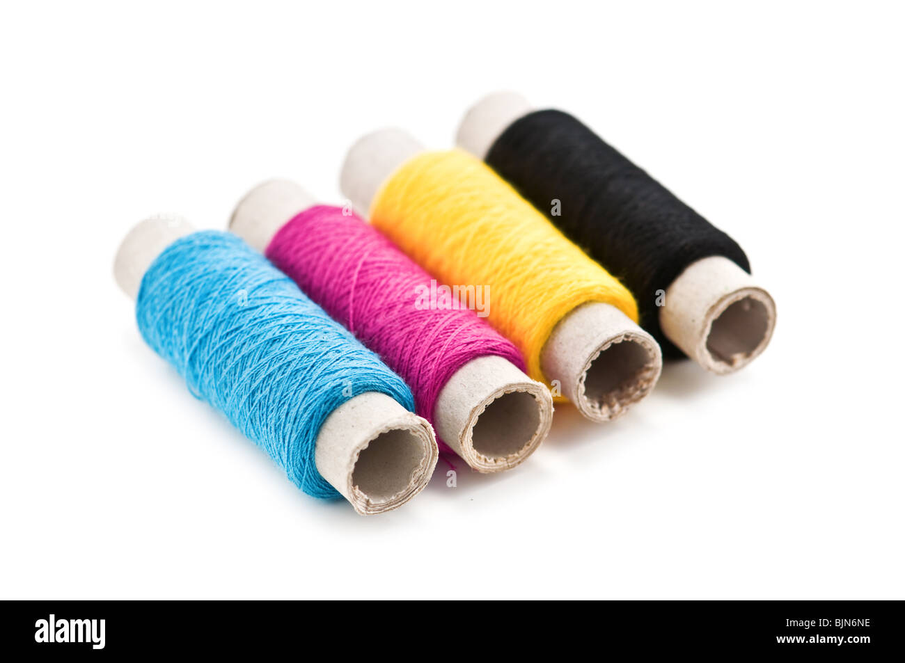 cmyk color thread isolated on white - Stock Image