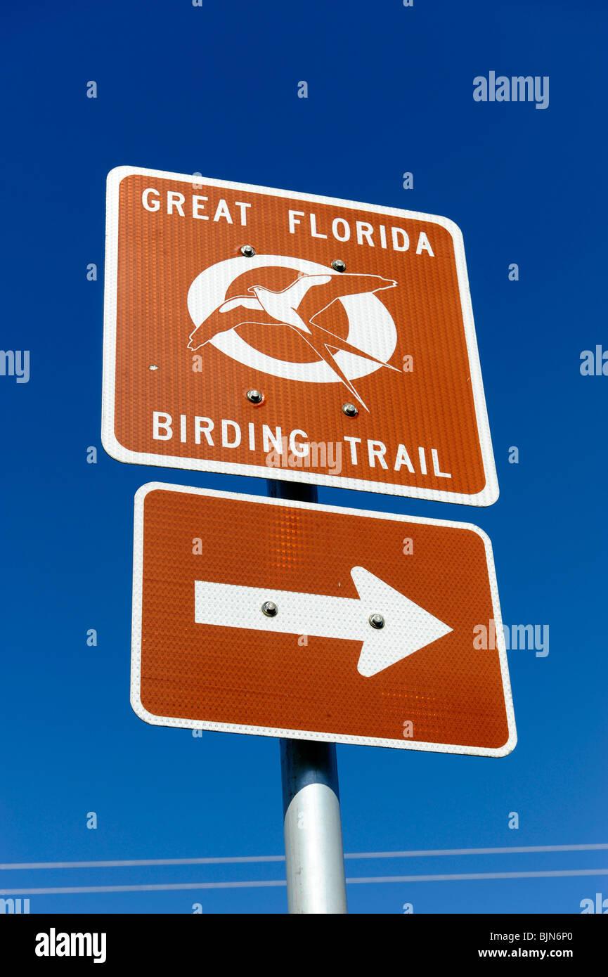 Sign Great Florida birding trail - Stock Image