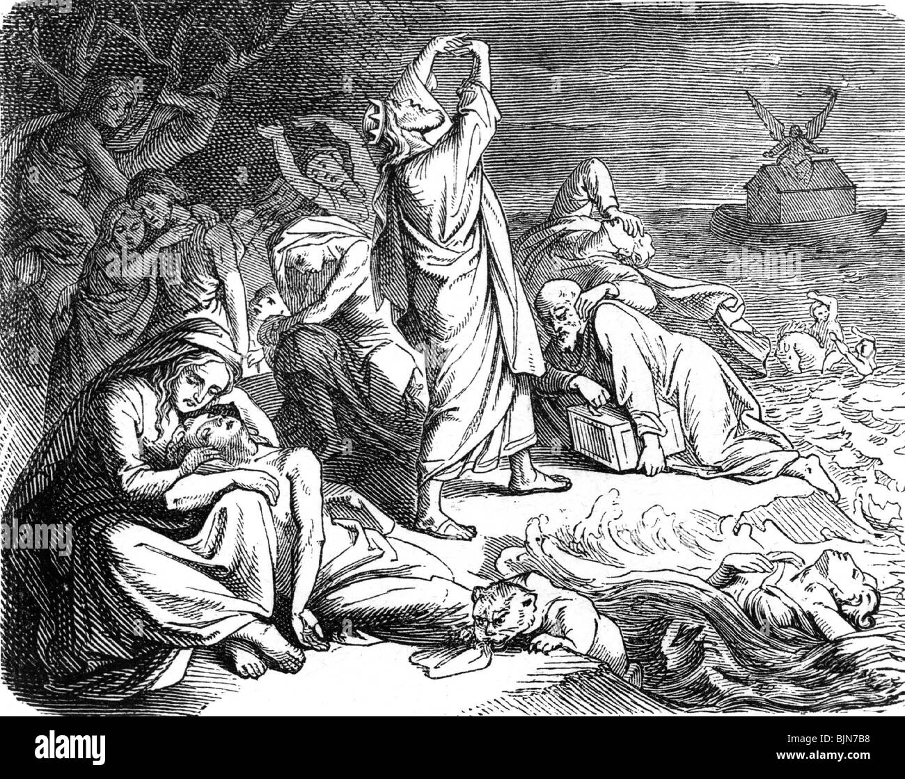 religion, deluge myth, illustration in a religious book, 1875, Additional-Rights-Clearances-NA - Stock Image
