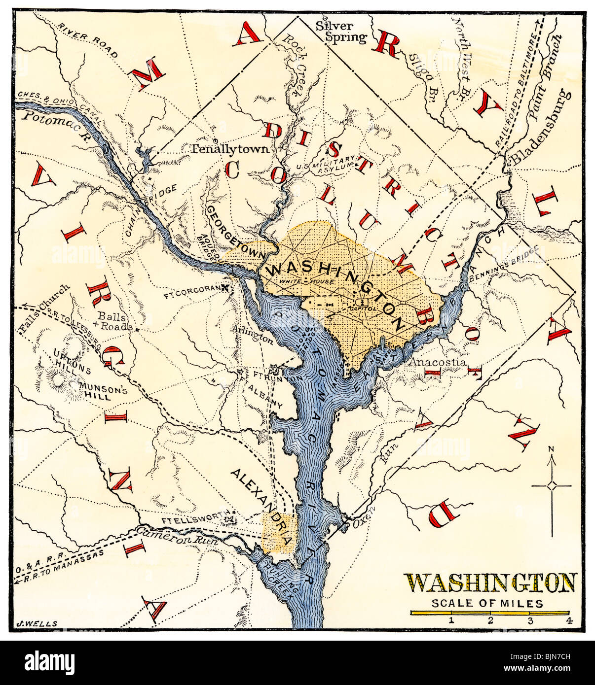 Map of the Washington DC vicinity at the outset of the Civil War. Hand-colored woodcut - Stock Image