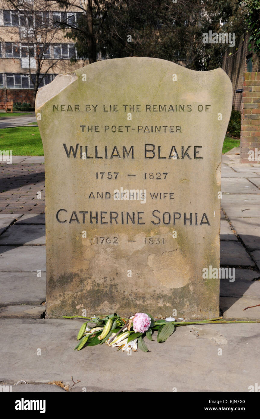 Memorial to William Blake (1757-1827) and his wife Catherine Sophia in Bunhill Fields, City Road, London, England, - Stock Image