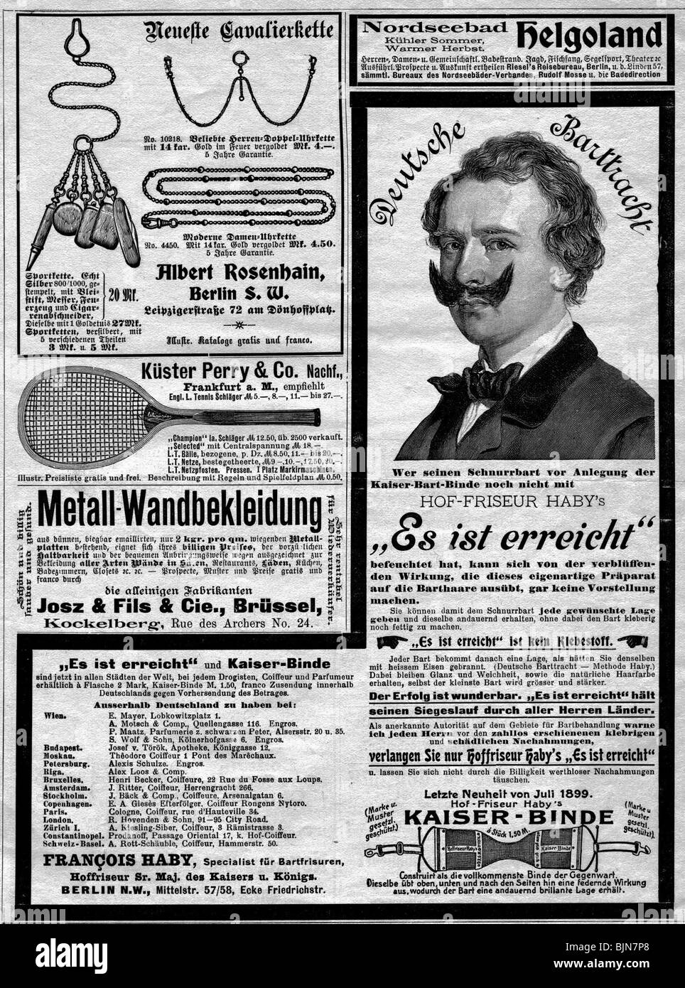 advertising, advertisements for jewellery, tennis rackets, moustache-trainer, circa 1900, Additional-Rights-Clearances - Stock Image