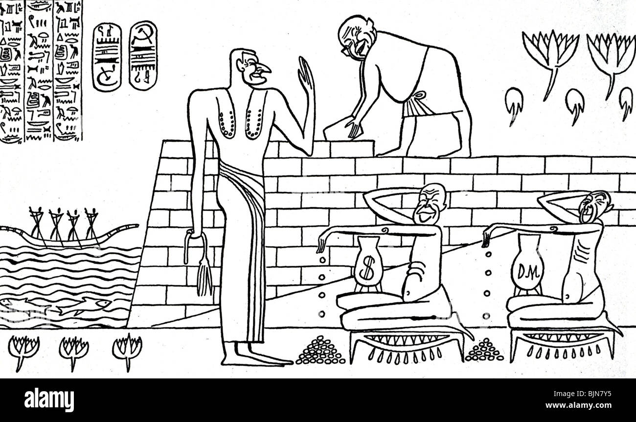 Nasser, Gamal Abdel, 15.1.1918-28.9.1970, Egyptian politician, caricature on the construction of the Aswan Dam, - Stock Image