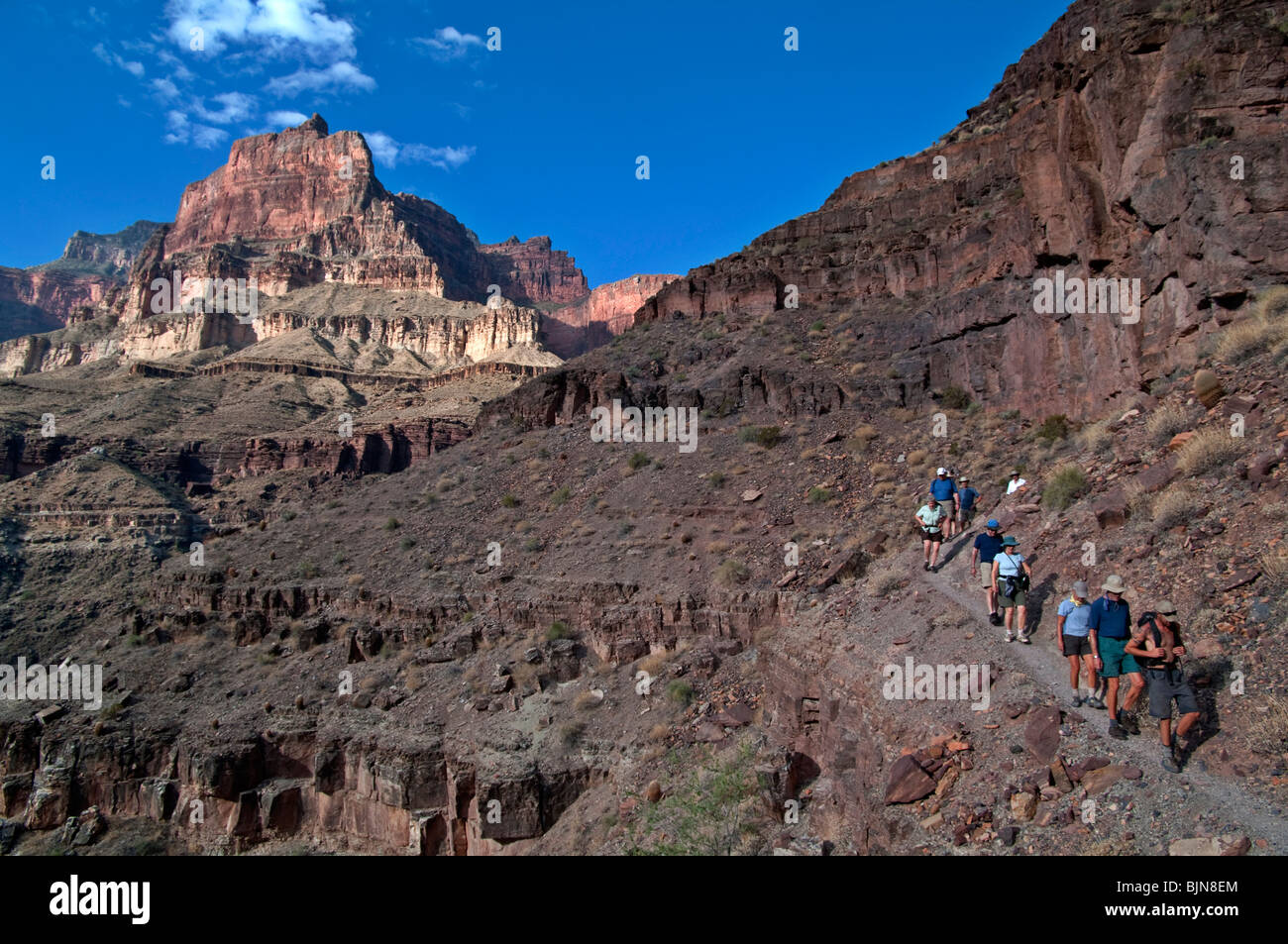 Hikers enjoy the rim view on their way to Thunder Springs - Stock Image