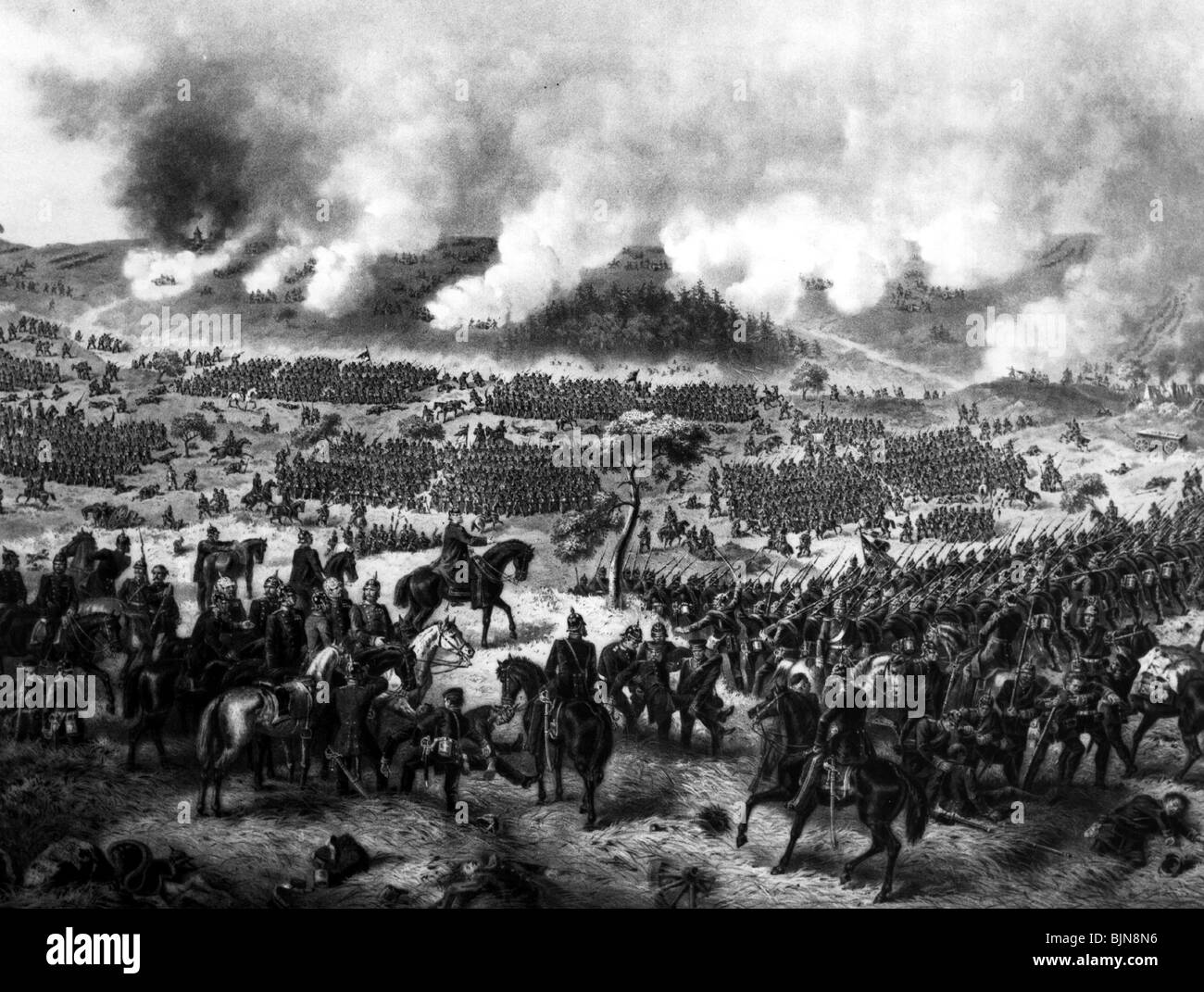 events, Austro-Prussian War 1866, Battle of Koeniggraetz, 3.7.1866, wood engraving, 19th century, Sadova, Bohemia, - Stock Image