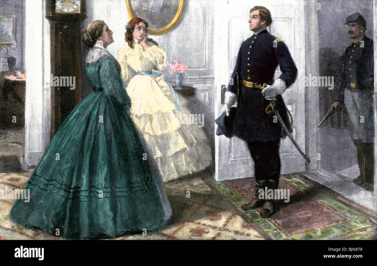 Union officer entering a civilian home, US Civil War. Hand-colored halftone of an illustration - Stock Image