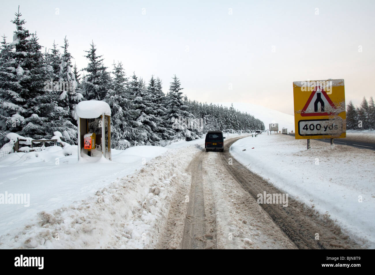 A lay by on the A9 road, near the Slochd summit, Invernesshire, Highland Region, Scotland, UK - Stock Image