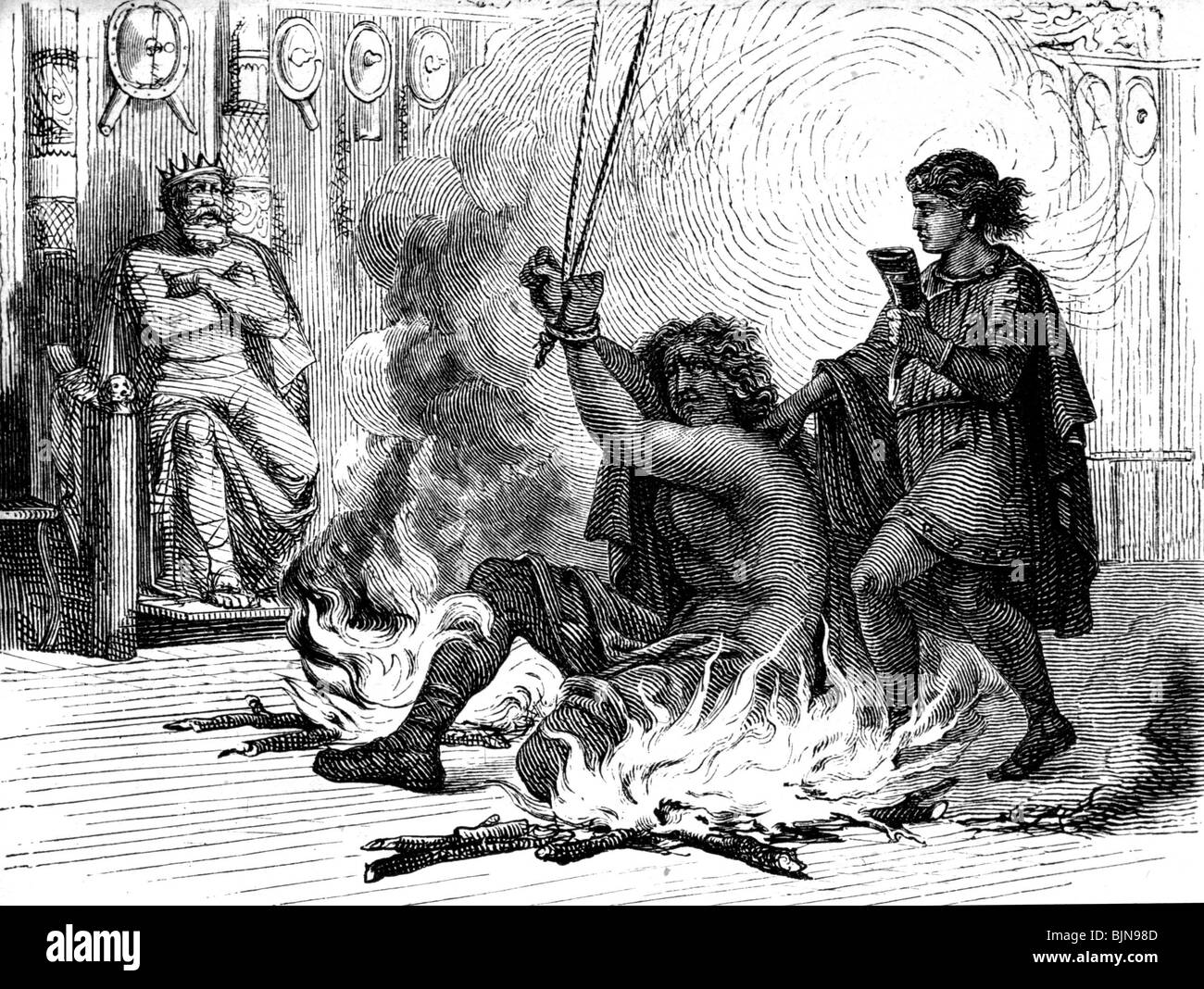 literature, Nordic Legends, Poetic Edda, Odin between two fires with King Geirrod, wood engraving after drawing - Stock Image