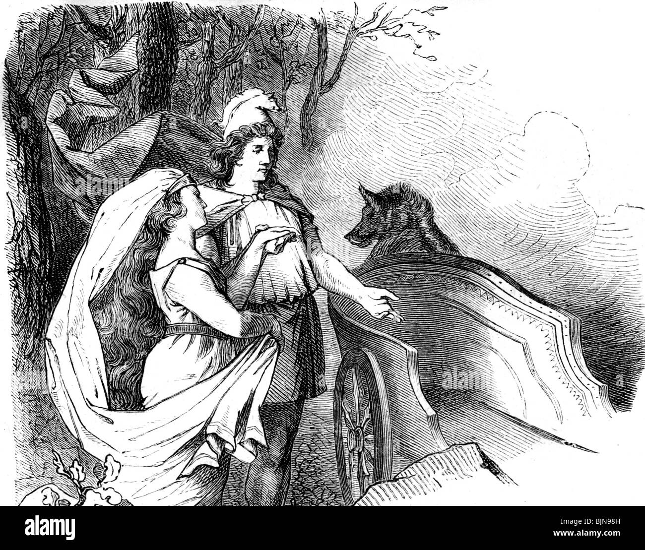 literature, Nordic Legends, Poetic Edda, Thor with Geirrod, wood engraving after drawing by Karl Ehrenberg, 19th - Stock Image