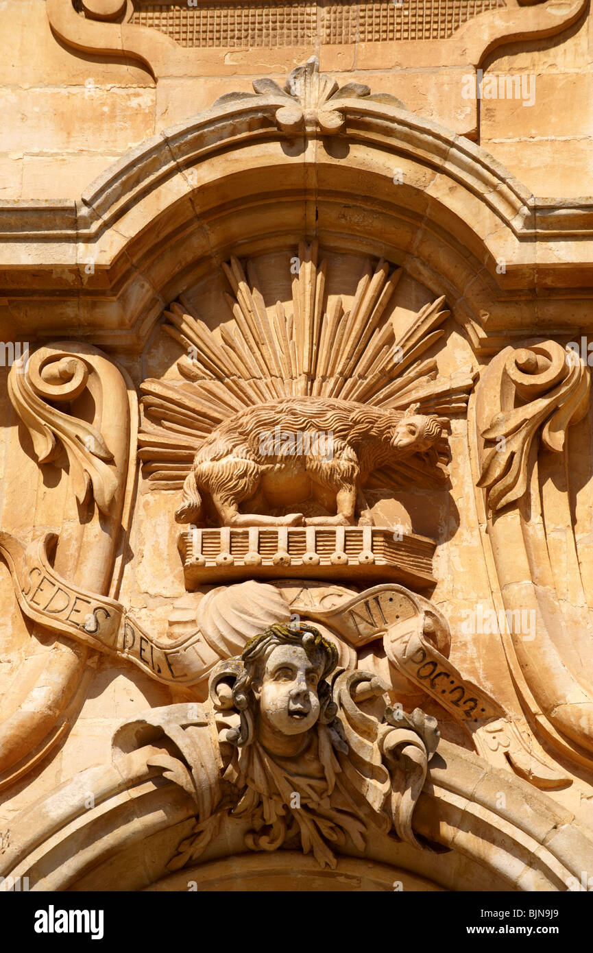 Baroque sculptures of the Church of St George designed by Gagliardi 1702 , Modica, Sicily - Stock Image