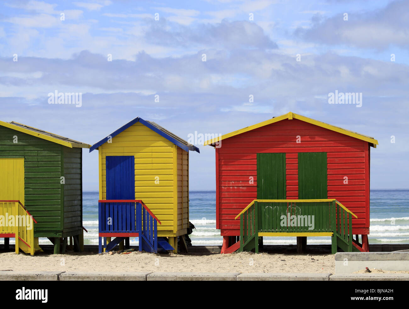 Colourful beach huts on Muizenberg beach, False Bay, South Africa. - Stock Image