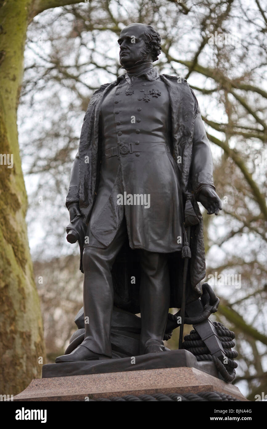 Bronze statue of Sir John Franklin the Arctic explorer who discovered the North West Passage to the Pacific but - Stock Image