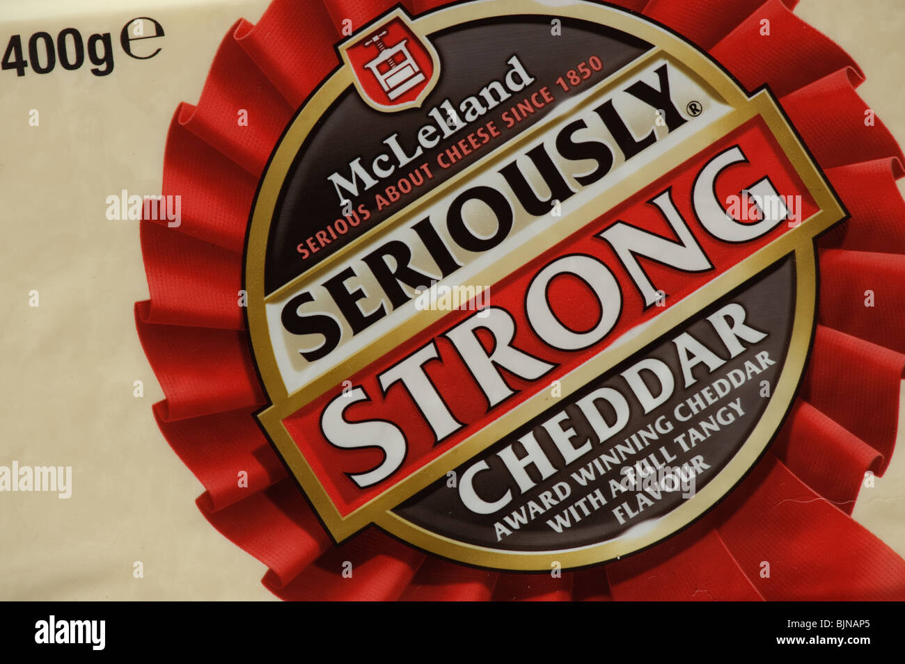A 400g pack of McLellend seriously strong cheddar cheese, UK Stock Photo
