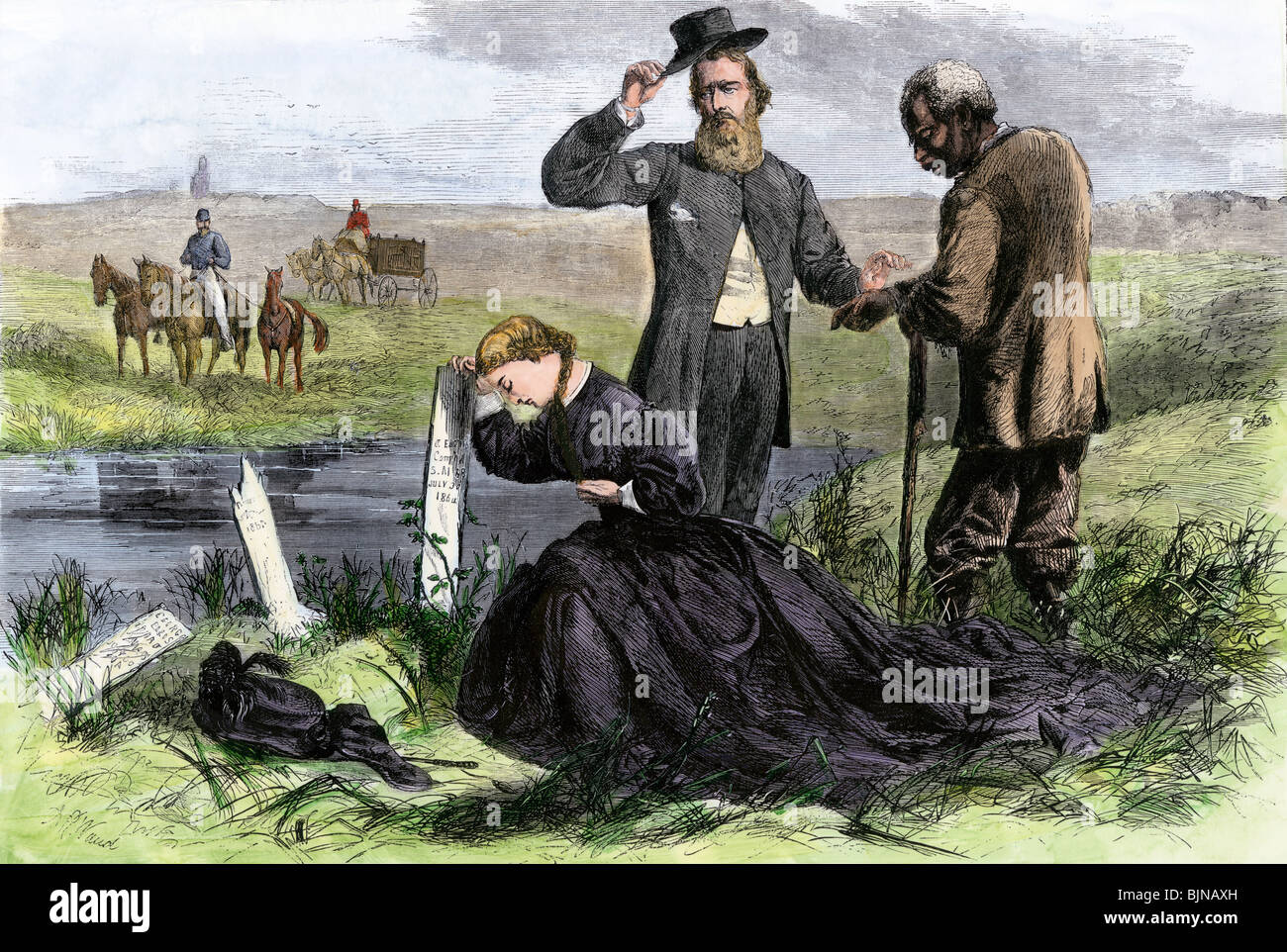 Southern couple with black servant grieving at a battlefield gravesite, 1860s. Hand-colored woodcut - Stock Image