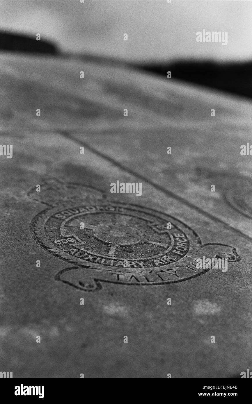 The motto 'Tally Ho' etched into the stone of the battle of Britain Memorial - Stock Image