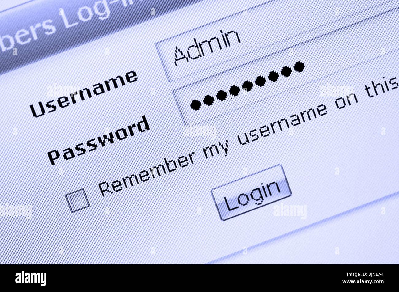 Web site login procedure entrance - Stock Image