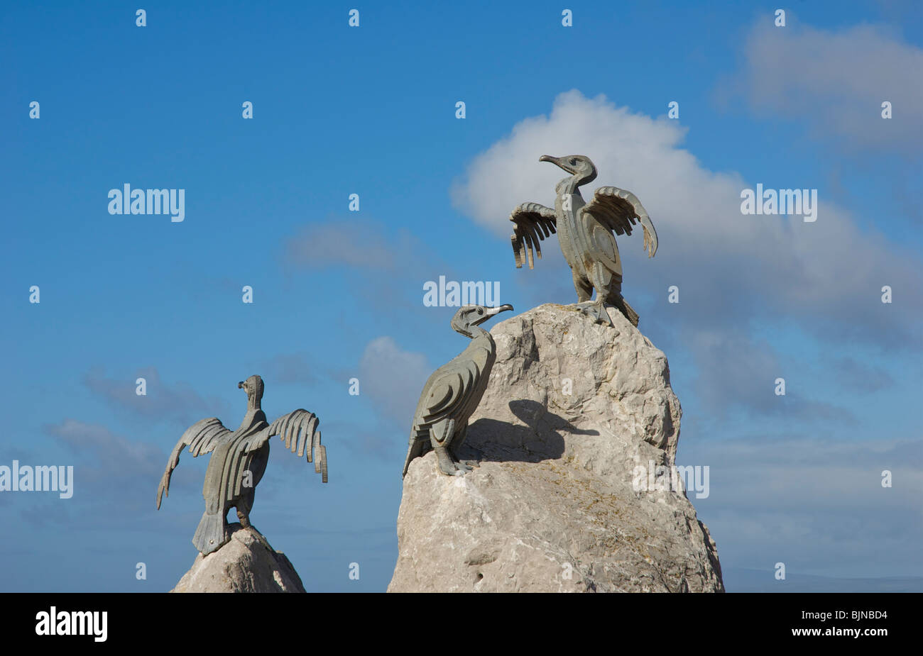 Sculpture of cormorants on promenade, Morecambe, Lancashire, England UK - Stock Image
