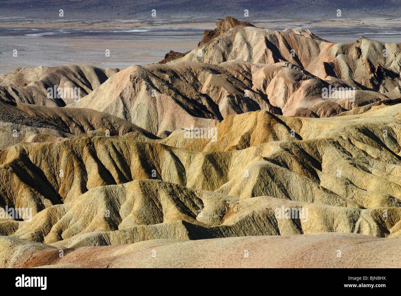 Scenic view of Zabriskie Point in Death Valley, California state - Stock Image