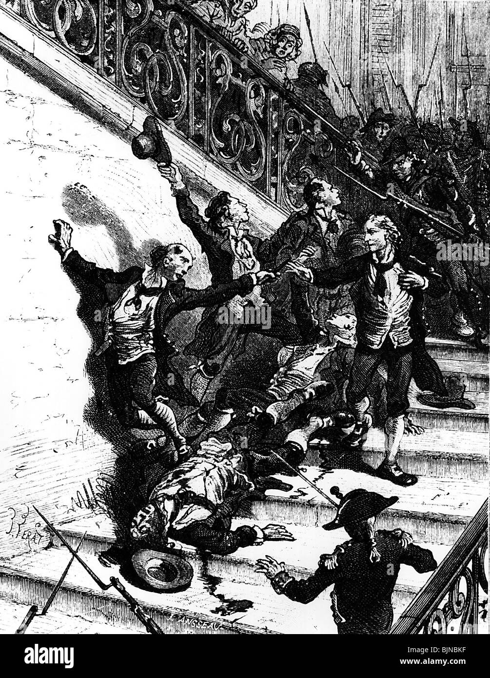 geography / travel, France, French Revolution 1789, reign of terror, suicide of the condemned democrats, circa 1793, - Stock Image