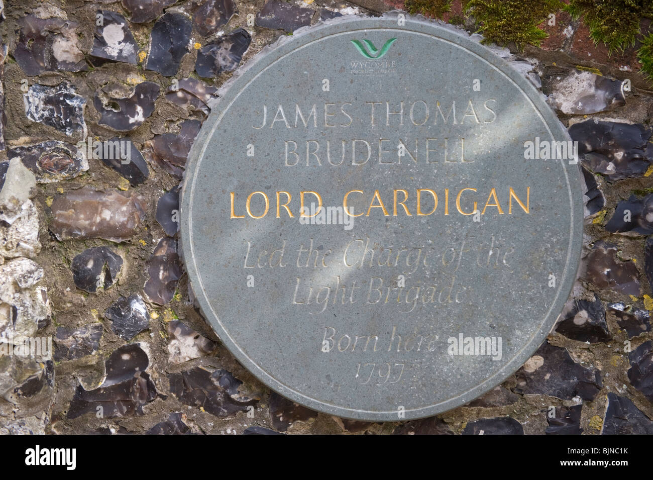 Lord Cardigan memorial wall plaque outside the Mansion at Hambleden Buckinghamshire UK - Stock Image