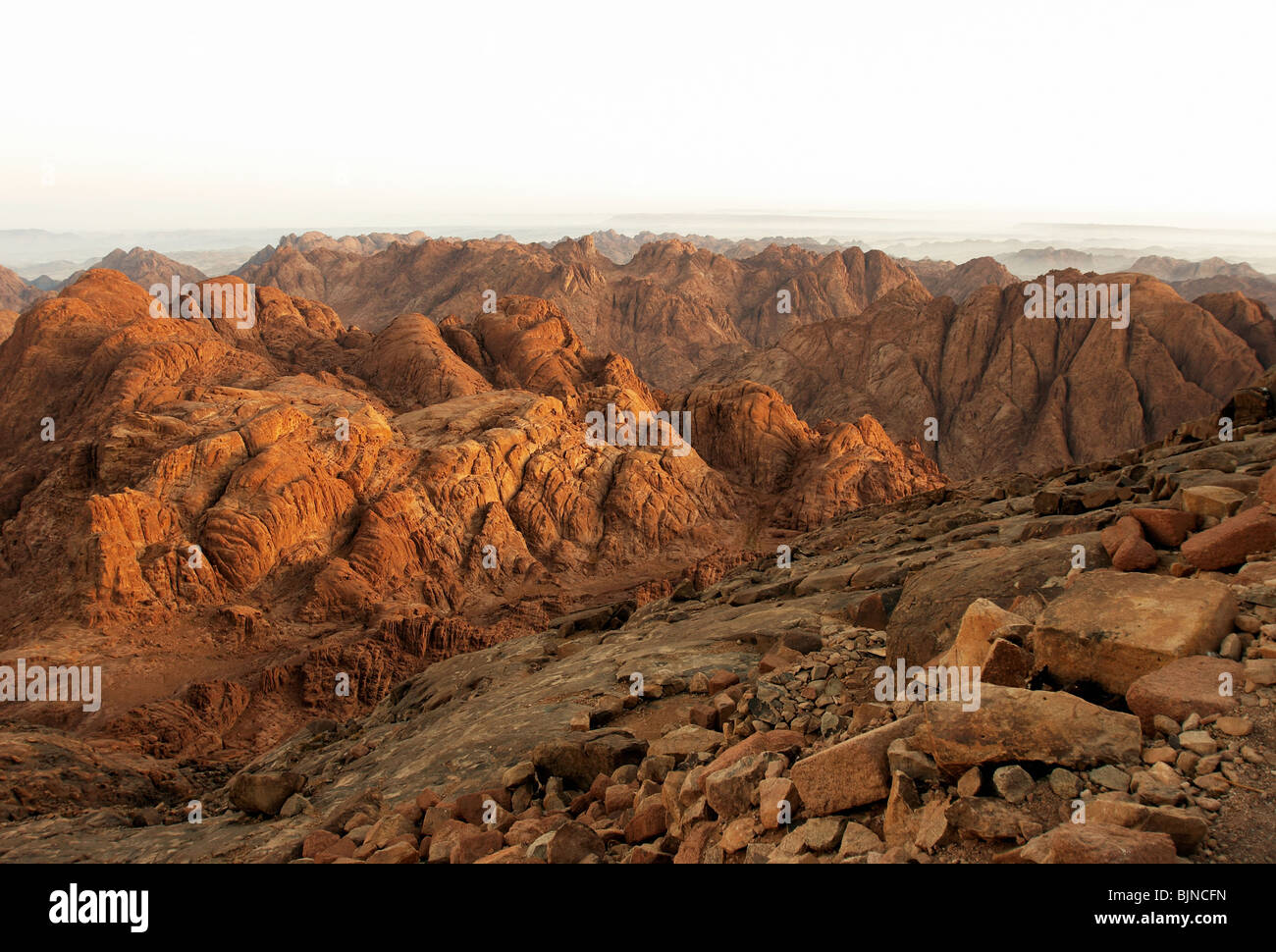 Rocks of holy ground Mount Sinai in early morning - Stock Image
