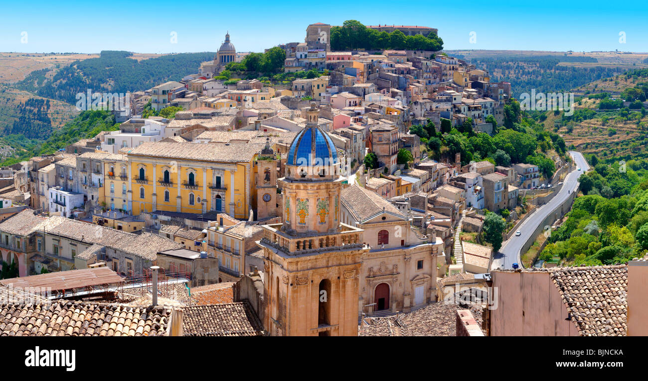 Santa Maria delli'Idria in the foreground and Ragusa Ibla Sicily behind  - Stock Image