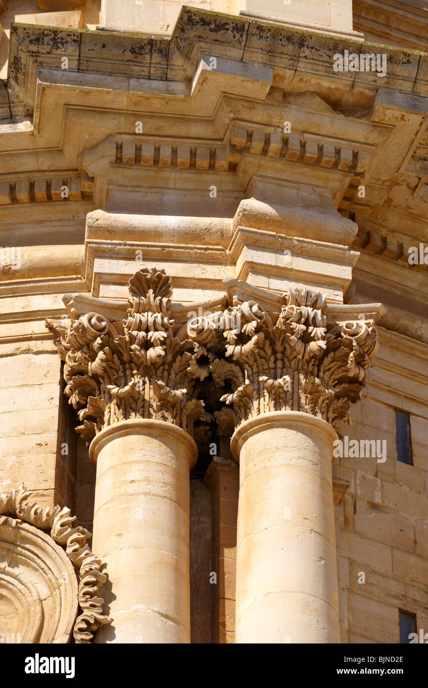 Ionic Column capitals of the Baroque Church of St George designed by Gagliardi 1702 , Modica, Sicily - Stock Image