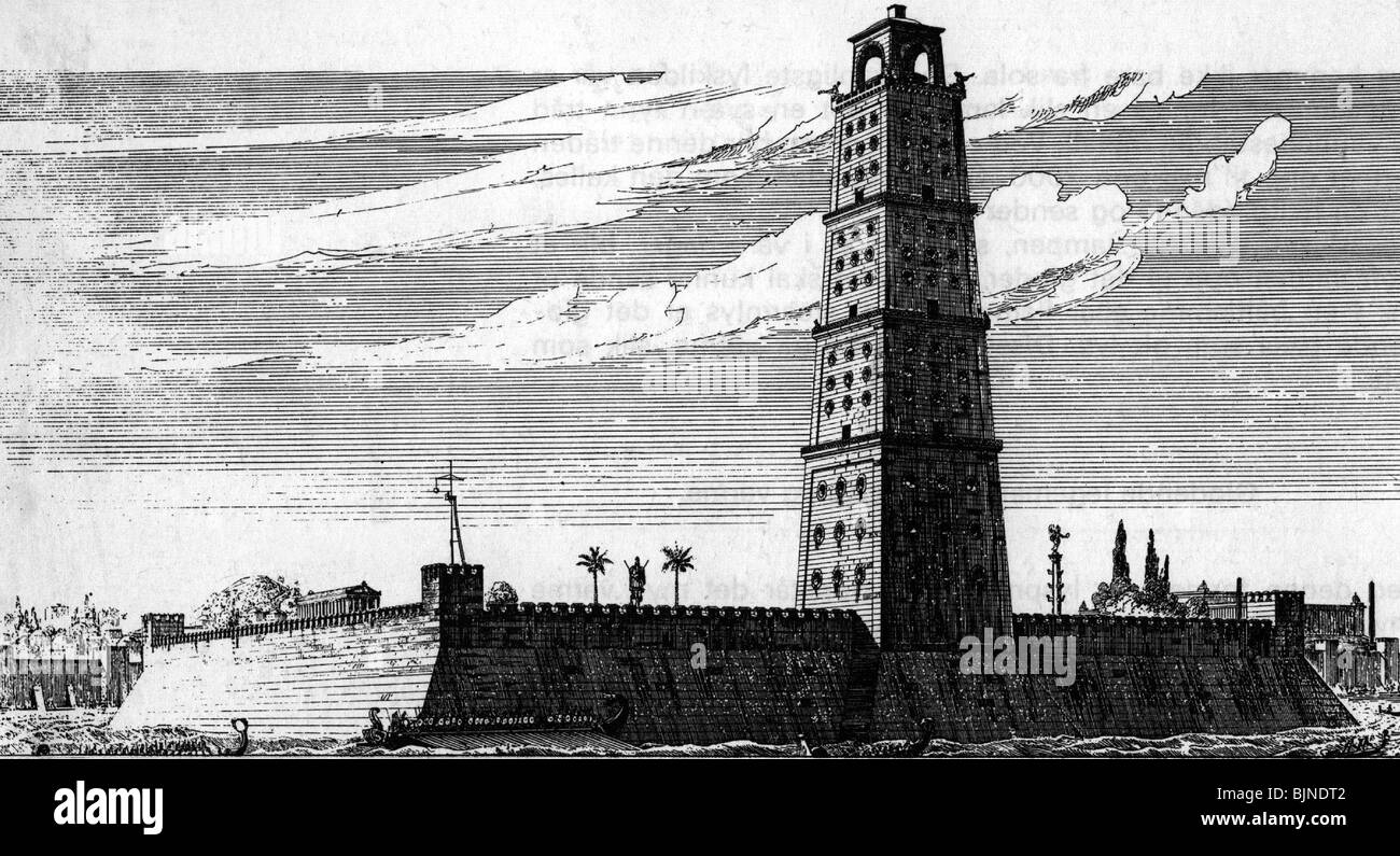 Ancient World The Seven Wonders Of Lighthouse Pharos Alexandria Built Circa 280 BC Reconstruction Drawing 19th Century Historic